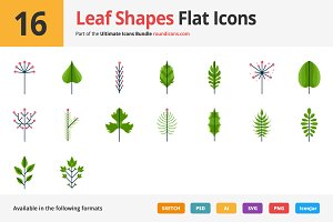 16 Leaf Shapes Flat Icons