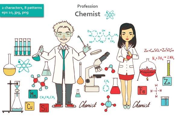 Profession. Chemist. - Illustrations