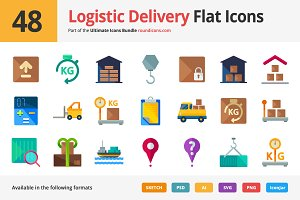 48 Logistic Delivery Flat Icons