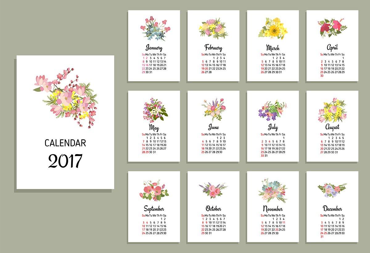 No91 Calendar 2017 Illustrations Creative Market