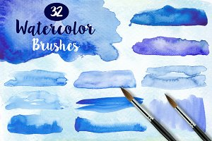 32 Watercolor Brushes