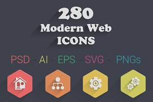 280 Modern Web Icons (7 Styles)
