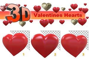 Transparent 3d Hearts