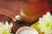 SPA treatment set with  aroma oil  on wooden table