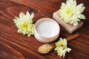 Spa setting with natural handmade soap, sea salt  beauty cream