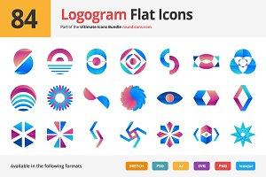 84 Logogram Flat Icons