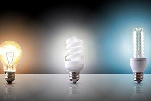 various types of light bulb black