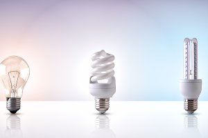 various types of light bulb white