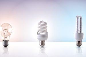 various types of light bulb white