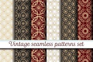Vintage seamless patterns set