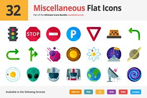 32 Miscellaneous Flat Icons