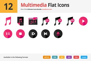 12 Multimedia Flat Icons