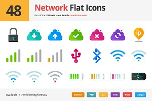 48 Network Flat Icons