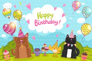 Happy Birthday. Cute animals