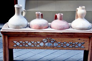 clay jugs on sideboard