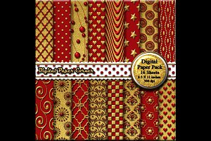 Red Gold Embossed Digtial Paper