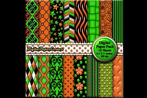 Green Orange Embossed Digtial Paper