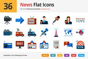 36 News Flat Icons