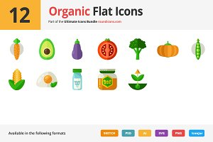 12 Organic Flat Icons