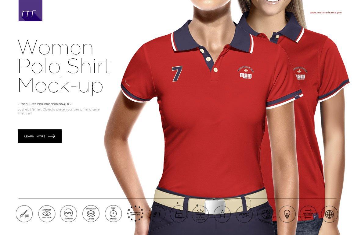 52ee70c6 Women Polo Shirt 3/5 Buttons Mockup ~ Product Mockups ~ Creative Market