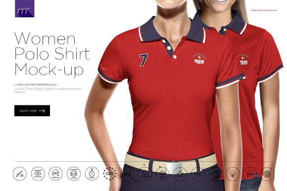 Download Women Polo Shirt 3/5 Buttons Mockup