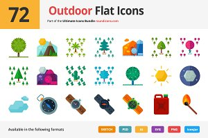 72 Outdoor Flat Icons