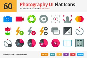 60 Photography UI Flat Icons