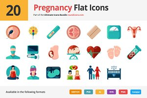 20 Pregnancy Flat Icons