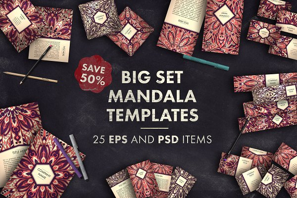 Card Templates: Maria_So - Big set mandala templates 01
