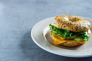 Cheese sandwich on bagel