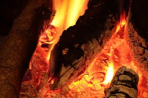 Flames of a fire fireplace
