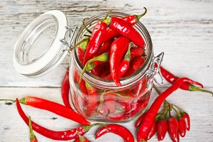 Glass jar with peppers