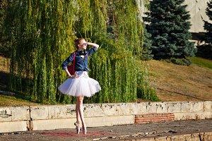Hipster Ballerina dancing