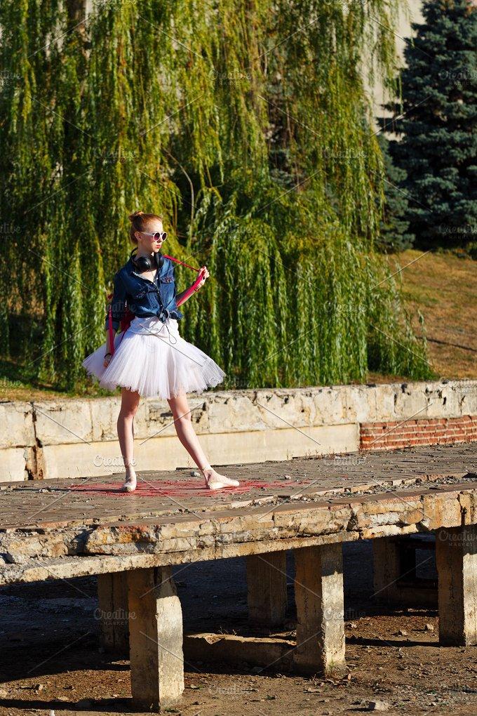 Ballet dancer hipster. Autumn park - People