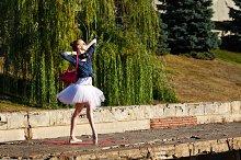 Girl dancing ballet pas
