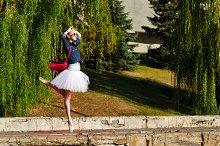Girl dancing ballet pas. Summer