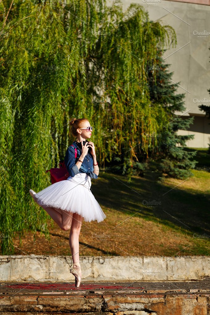 Cute ballerina hipster. Summer park - People