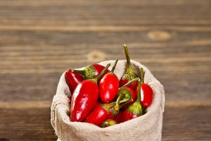 Chili peppers in bag