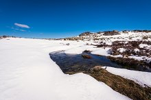 Snow landscape panoramic view. Mountain lagoons in Spain, A Veiga.