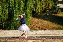 Lovely ballerina dancing. Hipster