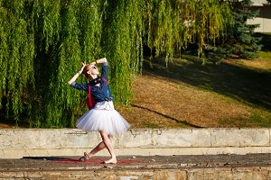Lovely ballerina dancing. Hipster