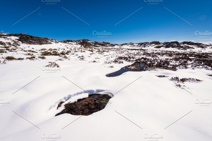 Snow landscape panoramic view. Mountain lagoons in Spain, A Veiga. - Nature