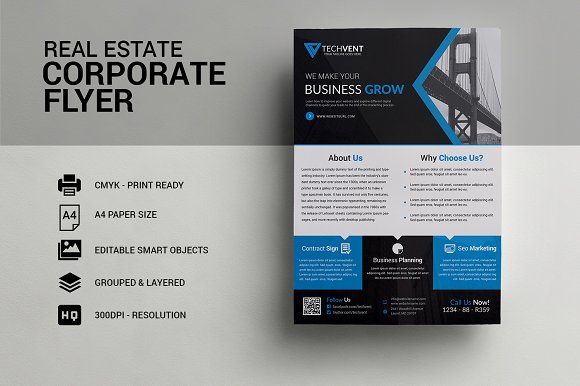 Real Estate Corporate Flyer Template Flyer Templates on Creative – Corporate Flyer Template