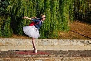 Sweet ballerina dancing. Hipster