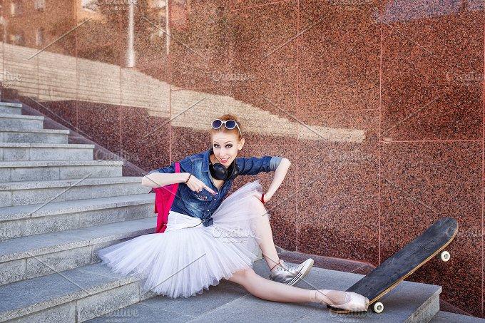 Ballet dancer hipster. Skateboard - People