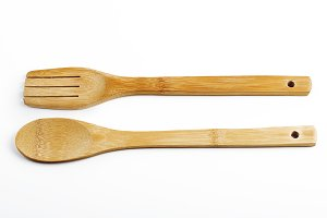 Fork and spoon on white background