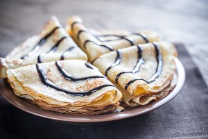 Crepes with chocolate topping