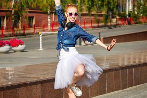 Ballerina dancing on streets Hipster