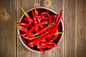 Red chili peppers in bowl