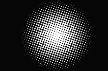 Abstract background of a circle of black dots on white